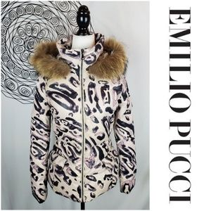 EMILIO PUCCI Down Filled Fur Trim Winter Coat